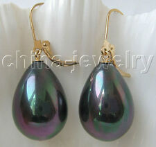 E3121-15x20mm natural black color south sea shell pearl earring -14k gold filled