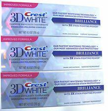3 X NEW CREST 3D WHITE BRILLIANCE WHITE TEETH WHITENING TOOTHPASTE (3 PACK)