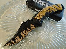 """Black Legion Assisted Open Gold Dragon Flames Pocket Knife 8 3/4"""" Open New 393"""