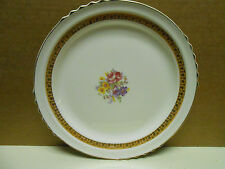 """French Saxon China 9""""  Plate with Rose Design 22k Gold Accents"""