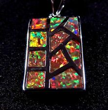 Sterling 925 Silver SF Pendant & Necklace Orange Lab Fire Opal Inlay RECTANGLE