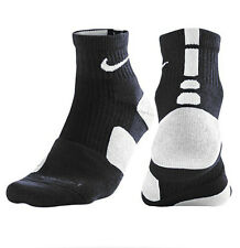 Nike L ELITE High Quarter Basketball Large 8-12 Crew Socks 1/4 Black White Pair