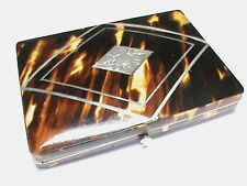 Antique Victorian faux tortoiseshell sterling silver card case