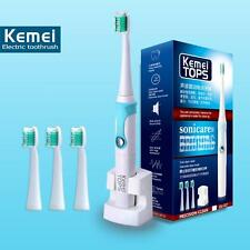 Electric Ultrasonic Sonic Waterproof Toothbrush With Replacement Heads 30000/min