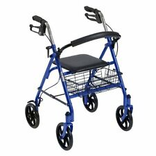 Drive Medical 4 Wheel Walker Rollator with Fold Up Removable Back Support, Blue