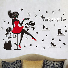 Fashion Girls Room Decals Wall Sticker Modern Art Style Decor Murals removable