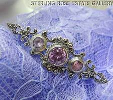 """PINK TOURMALINE and MARCASITE 2 3/8"""" STERLING SILVER 0.925 ESTATE BROOCH BROACH"""