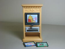 Fisher Price Loving Family TV VCR 2 tapes Winne the Pooh television furniture