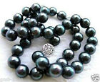 """New 10mm black south sea shell pearl necklace 18"""" AAA"""