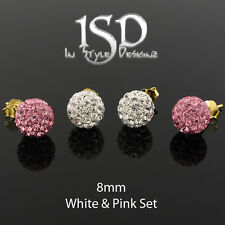 .925 Sterling Silver Yellow 8mm Swarovski Elements White Pink Crystal Ball Studs