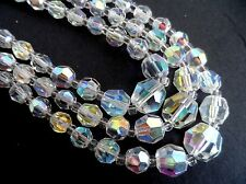 Vintage 50s Rockabilly AURORA BOREALIS / IRIDESCENT Glass Triple Strand Necklace