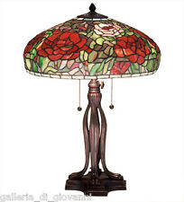 "23.5"" TIFFANY PEONY Table Lamp Stained Glass Tiffany Style Pink Red Green Flower"