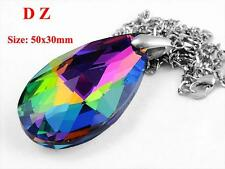 c008183 Rainbow Faceted Crystal Glass Teardrop Shape Bead Pendant Chain Necklace
