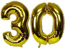"16"" 30 Gold Number Balloons 30th Birthday Party Anniversary Foil Balloon Decor"