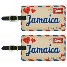 Air Mail Postcard Love for Jamaica Luggage Suitcase Carry-On ID Tags Set of 2