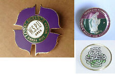 Three Replica Suffragette Suffragettes Badge Badges / Brooches With Gift Pouches