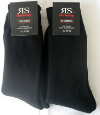 2 Pair XXL Thermal Socks Winter Socks without elastic Full terry black 47 - 50