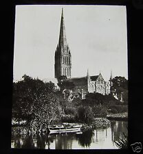 Glass Magic lantern slide SAILSBURY CATHEDRAL C1890 L6 ENGLAND
