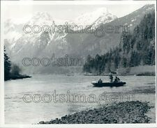 Salmon Fishermen in Boat Bute Inlet BC Snow Capped Mountains Press Photo