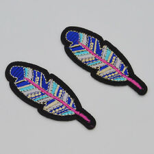Beautiful colorful feathers Embroidery Iron/sew on patch applique badge Motif