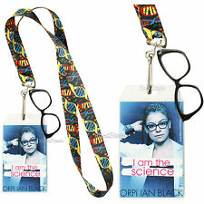 ORPHAN BLACK COSIMA DNA Helix Lanyard ID Card Pin holder W/Metal Glasses Charm