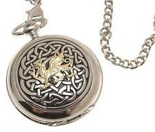 Pocket watch Solid pewter fronted mechanical skeleton Celtic Knot with Dragon 59