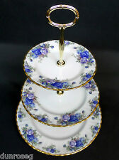 MOONLIGHT ROSE 3-TIER CAKE STAND, 1st QUALITY, VGC, 1987-2002, ROYAL ALBERT