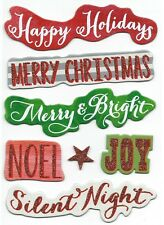 ASSORTED GLITTER CHIPBOARD STICKERS  - HAPPY HOLIDAYS - MERRY CHRISTMAS