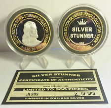 """NEW 2015 """"JESUS"""" 43mm """"SILVER STUNNER"""" TOKEN/COIN, C.O.A. 500 Made RRP $50.00"""
