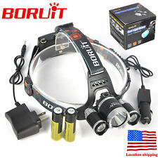 BORUiT 13000LM 3 x XM-L T6 LED Headlamp Head Torch Light 2x18650+AC/Car Charger