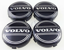 4x 64 mm VOLVO BLACK CENTRE WHEEL HUB CAPS ALLOY