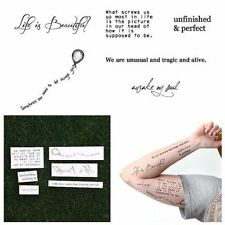 INFINITY QUOTES WORDS INSPIRATION BLACK TEMPORARY TATTOO WATERPROOF (SET OF 12)