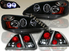 2001-03 HONDA CIVIC 4DR SEDAN TWIN HALO PROJECTOR HEADLIGHTS BLACK + TAIL LIGHTS