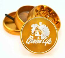 "Green Life Chiefin GOLD 2.5"" 4pc Muller Herb Tobacco Grinder Crusher Sharpstone"