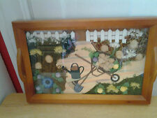 """3D Country Garden Scene Wood Serving Tray Kitchen Decor"