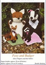 TOY KNITTING PATTERN Fox & Badger GLOVE PUPPETS + THEIR BABIES BY SANDRA POLLEY
