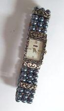 1928 Brand Black Faux Pearl Watch Bracelet