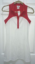 NEW Womens 4 36 LACOSTE SPORT Technical Pique Fall White Fusion Red Tennis Dress
