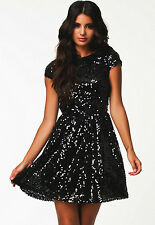 Sexy Black & Silver Sequin Dress Open Back Formal Clubwear Gothic Fetish M