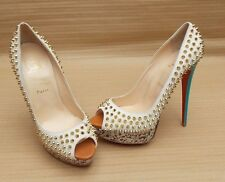 CHRISTIAN LOUBOUTIN STONE SUEDE SPIKE STUDDED PEEP LADIES PUMPS £800+ 41 8 SHOES