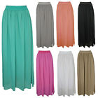 Ladies Womens Sheer Chiffon Elasticated Waist Maxi Gypsy Plain Long Maxi Skirt