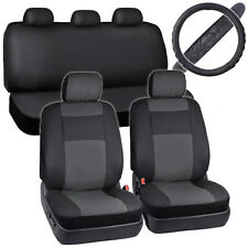 Faux Leather Seat Covers for Car Black/Grey w/ Cushioned Steering Wheel Cover
