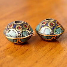 UB2541A Tibetan Nepalese Handmade Turquoise Coral Brass 2 Saucer Beads Nepal