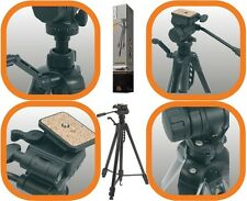 BLACK 1.6M 1.7KG PRO GRADE CAMERA TRIPOD WITH FLUID EFFECT 3 WAY PAN/TILT HEAD