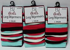 3 Pairs Of MJ Molly Jacob Girls LEG WARMERS One SZ Fits Most Blue & Multi Color