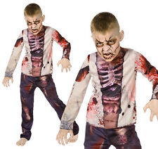 Childrens Walking Dead Zombie Fancy Dress Costume Halloween Childs Kids Outfit M