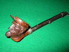 pipe en bruyère sculptée soldat français WWI yeux sulfure couvercle militaria