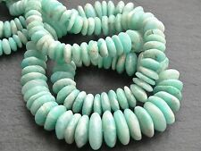 "HAND SHAPED AMAZONITE RONDELLES, graduated 7mm - 12mm, 16"", 100 beads"