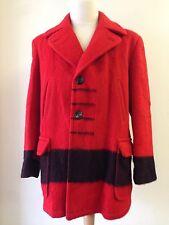 Vintage Hudson's Bay 4 Point Wool Coat Men's Large Blanket Red