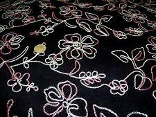 Bordado floral Stretch Aguja cord-black - fashion/craft fabric-freep & P
